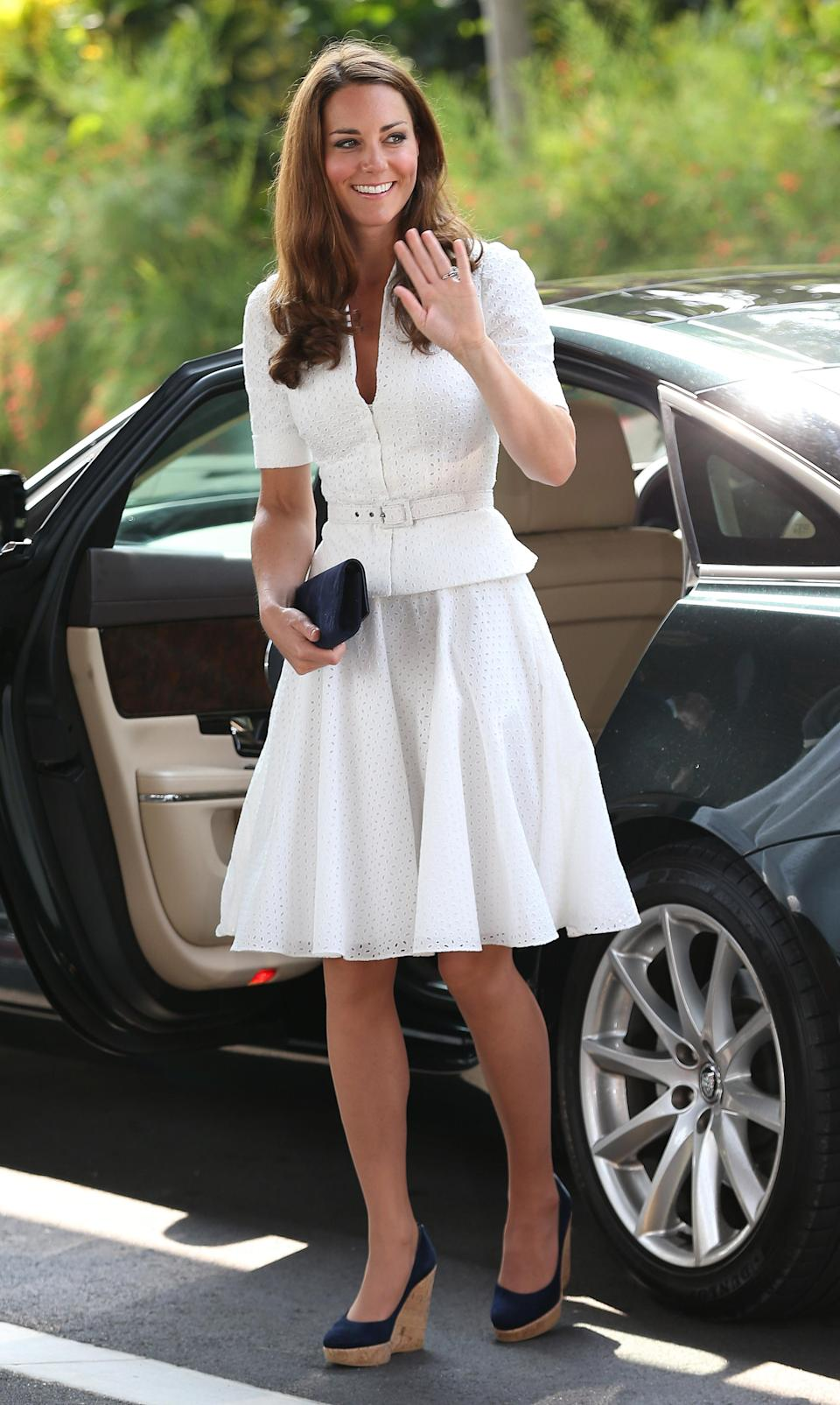 <p>This one is a no-brainer — when wearing a dress or coat, hemlines must always skim the knees or thereabouts (generally, they are never more than three or four inches above the knee). Short skirts are out of the question. </p>