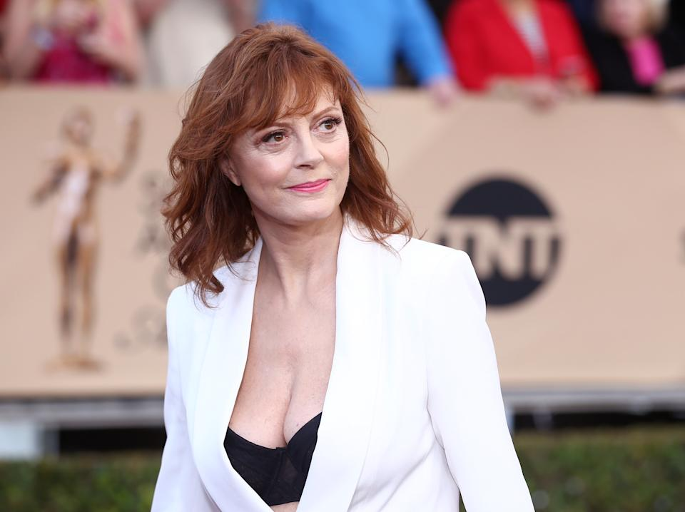 Susan Sarandon arrives at the 22nd annual Screen Actors Guild Awards at the Shrine Auditorium & Expo Hall on Saturday, Jan. 30, 2016, in Los Angeles. (Photo by John Salangsang/Invision/AP)