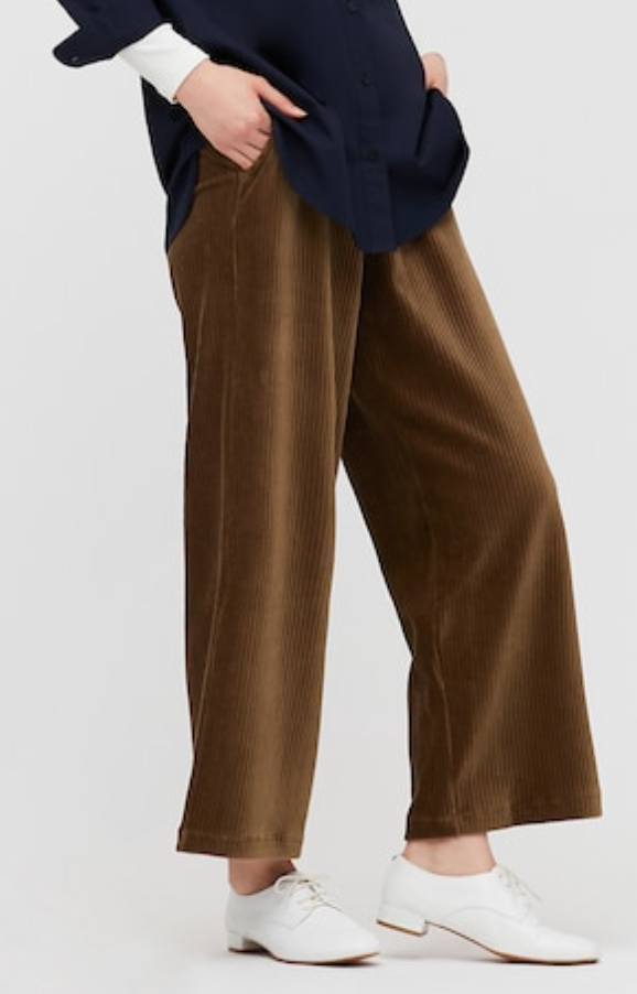 Uniqlo Women's Corduroy Wide Straight Pants in Brown