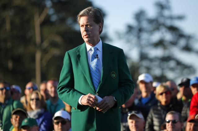 """Chairman, Augusta National Golf Club and the """"Masters"""" Tournament, Fred S. Ridley, speaks during the ceremonial start before first round play in the 2018 Masters golf tournament at the Augusta National Golf Club in Augusta, Georgia, U.S. April 5, 2018. REUTERS/Brian Snyder"""