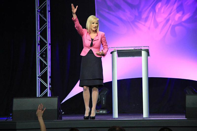 Pastor Paula White, seen preaching at her church outside Orlando, New Destiny Christian Center, in 2013. (Photo: Paula White Ministries/Facebook)