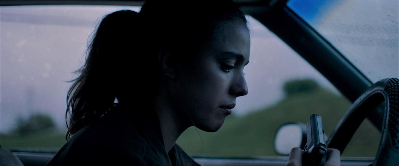 <p>Qualley plays Delia Angus in this lower-profile drama film about a former Marine's boxing match with a violent drug dealer.</p>