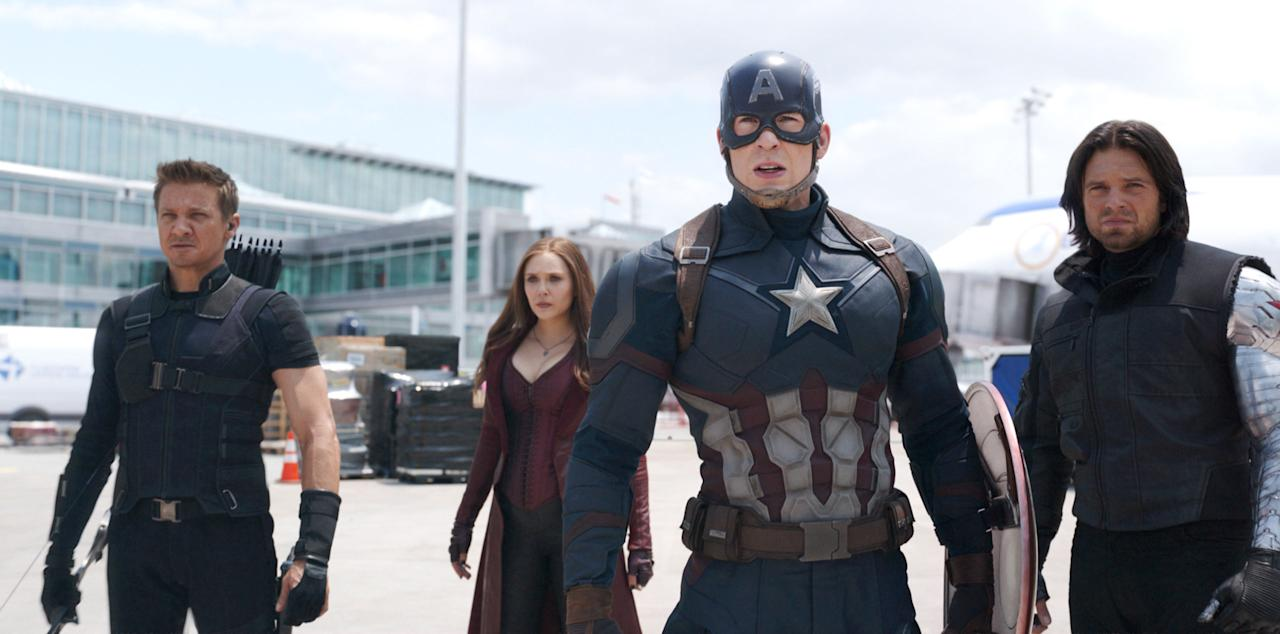 <p>The latest offering from the Marvel Cinematic Universe (the 13th, to be exact) pits Captain America (Chris Evans) against Iron Man (Robert Downey, Jr.). Scarlett Johansson and Elizabeth Olsen return as Black Widow and Scarlet Witch, respectively, while Sebastian Stan reprises his role as Bucky Barnes. </p><p><em>Release Date: May 6</em></p>