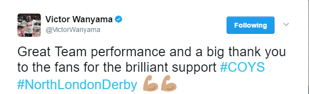 Victor Wanyama tweet after Arsenal win
