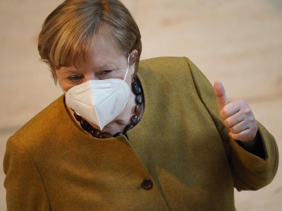 <p>Angela Merkel, whose government had previously said it lacked evidence the jab would be effective</p> (Getty)