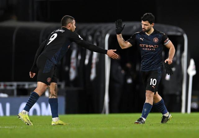 Gabriel Jesus, left, and Sergio Aguero were both on the scoresheet for City