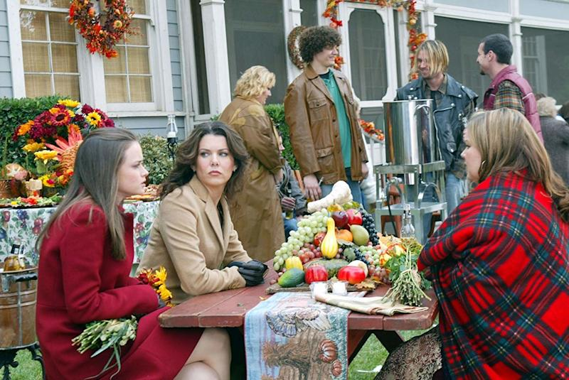 Rory and Lorelai try to fit in four Thanksgiving dinners; Lorelai finds out Rory applied to more colleges than just Harvard; and Lane has her first kiss. Photo courtesy of IMDB.