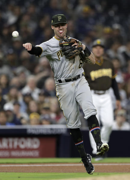 Pittsburgh Pirates third baseman Jake Elmore throws to first too late as San Diego Padres' Ty France arrives safely for a single during the fourth inning of a baseball game Friday, May 17, 2019, in San Diego. (AP Photo/Gregory Bull)