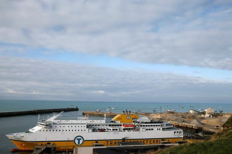 Trucks disembark from the ferry Cote d'Albatre in Dieppe harbour