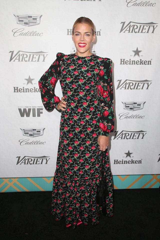 <p>Busy Phillips wore a flroal dress by brand of the moment, The Vampires Wife, to the pre-Emmy party. Love.<br>[Photo: Rex] </p>