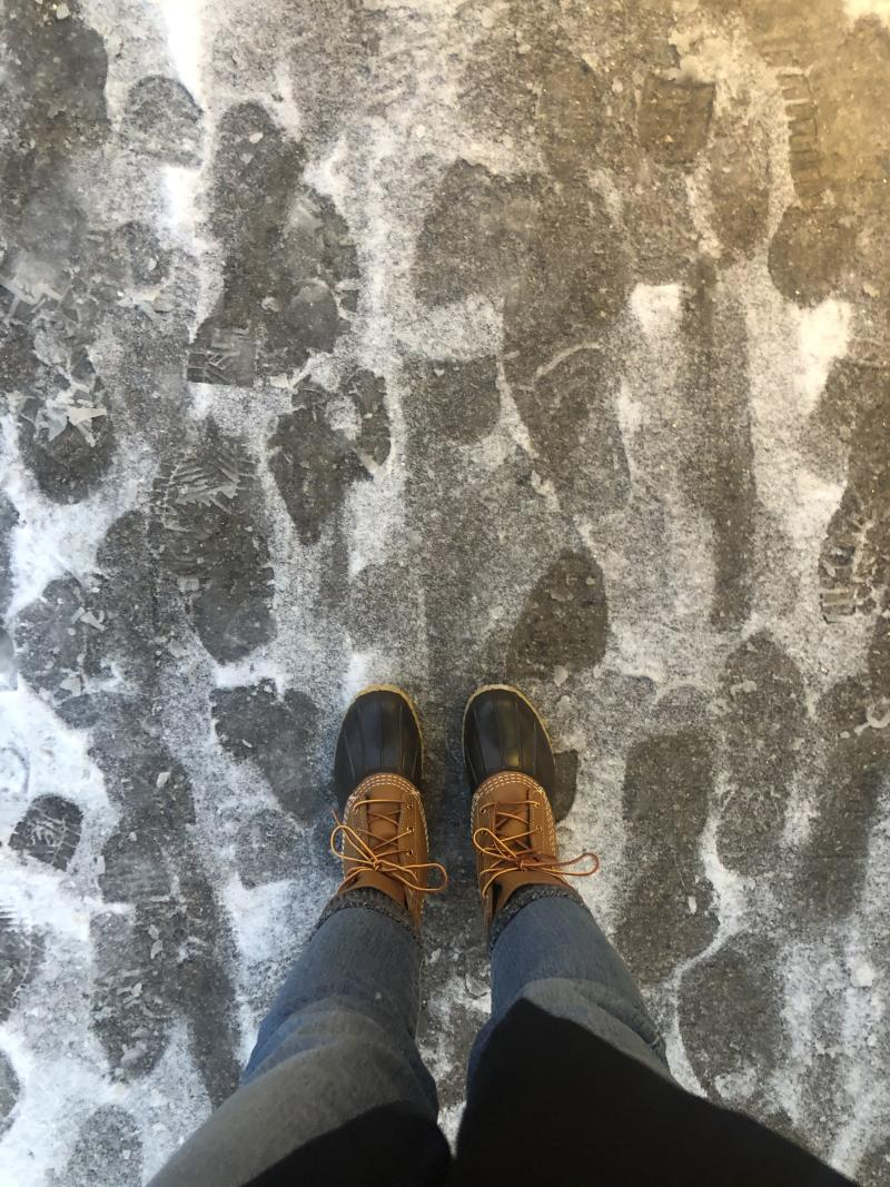 My Bean Boots after the snowstorm turned to a slippery hell.
