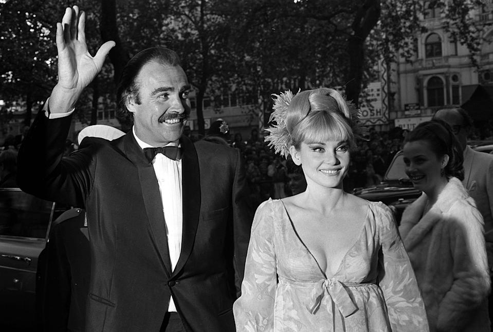 "James Bond star Sean connery with his wife Diane Cilento arrives for the World Premiere of his latest film ""You Only Live Twice,"" at the Odeon cinema, Leicester Square, London.   (Photo by PA Images via Getty Images)"