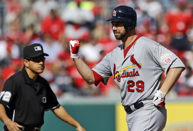 St. Louis Cardinals starting pitcher Chris Carpenter reacts after hitting a double in the fifth inning of Game 3 of the National League division baseball series against the Washington Nationals on Wednesday, Oct. 10, 2012, in Washington. (AP Photo/Alex Brandon)