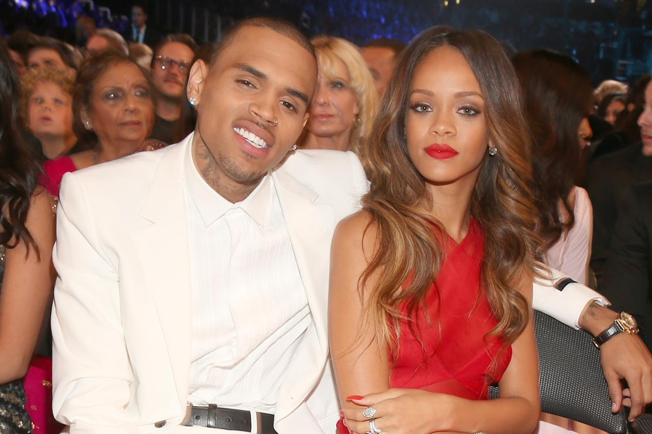 Chris Brown and Rihanna attend the 55th Annual GRAMMY Awards at STAPLES Center on February 10, 2013 in Los Angeles, California.  (Photo by Christopher Polk/Getty Images for NARAS)