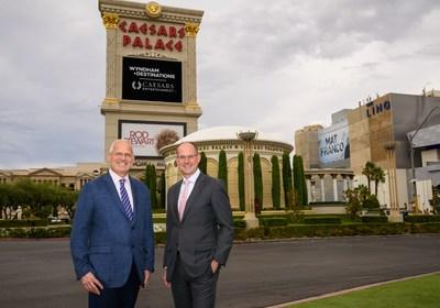 Gary Selesner (l), Las Vegas regional president for Caesars Entertainment, with Michael Brown, president and CEO of Wyndham Destinations, at the iconic Caesars Palace in Las Vegas.