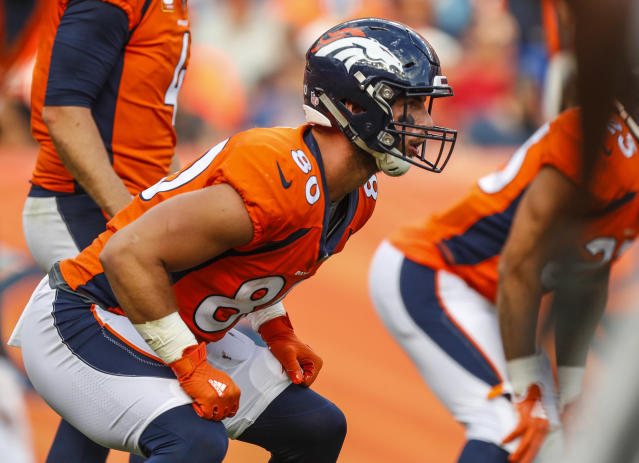FILE - In this Sunday, Sept. 16, 2018, file photo, Denver Broncos tight end Jake Butt (80) lines up against the Oakland Raiders during the second half of an NFL football game in Denver. Broncos tight end Jake Butt's family learned long ago to have fun with their last name. (AP Photo/Jack Dempsey, File)