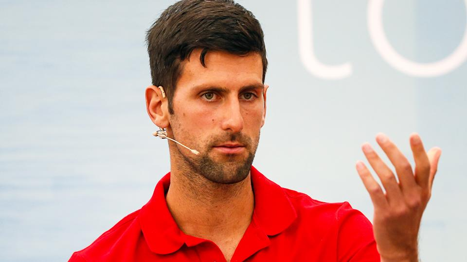 Novak Djokovic (pictured) during a media press conference.