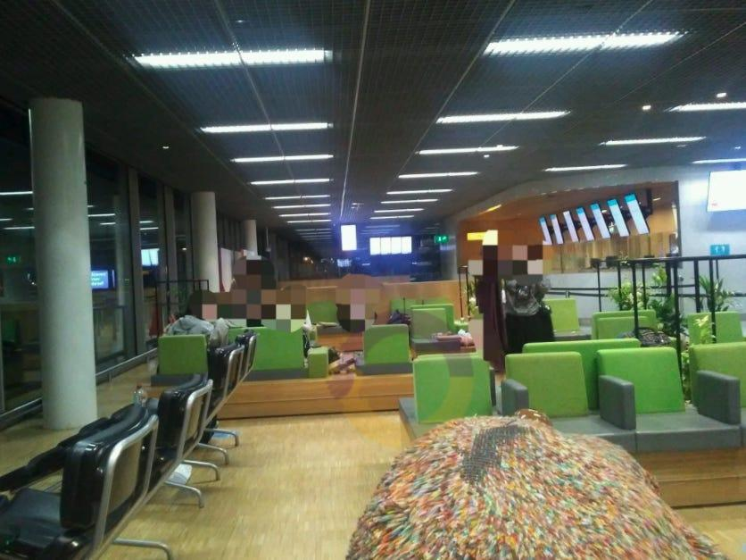 The Orthodox Jewish teenagers slept at Amsterdam's Schiphol airport.