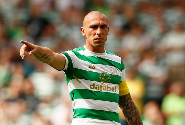 Soccer Football - Scottish Cup Final - Celtic vs Motherwell - Hampden Park, Glasgow, Britain - May 19, 2018 Celtic's Scott Brown gestures Action Images via Reuters/Jason Cairnduff