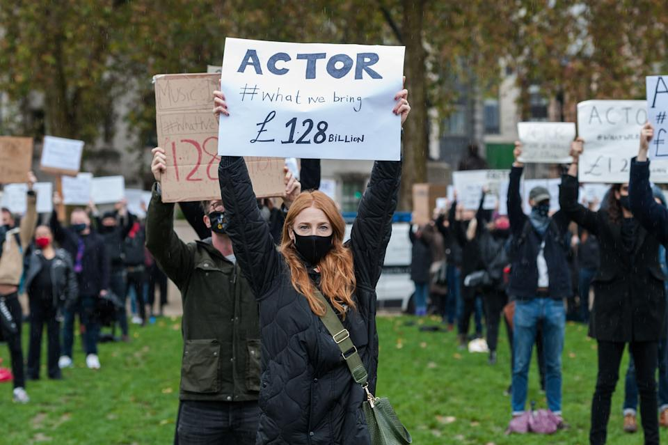 Theatre performers, creatives and technicians gather in Parliament Square to take part in the Survival in the Square' creative demonstration in October (Photo: Getty)