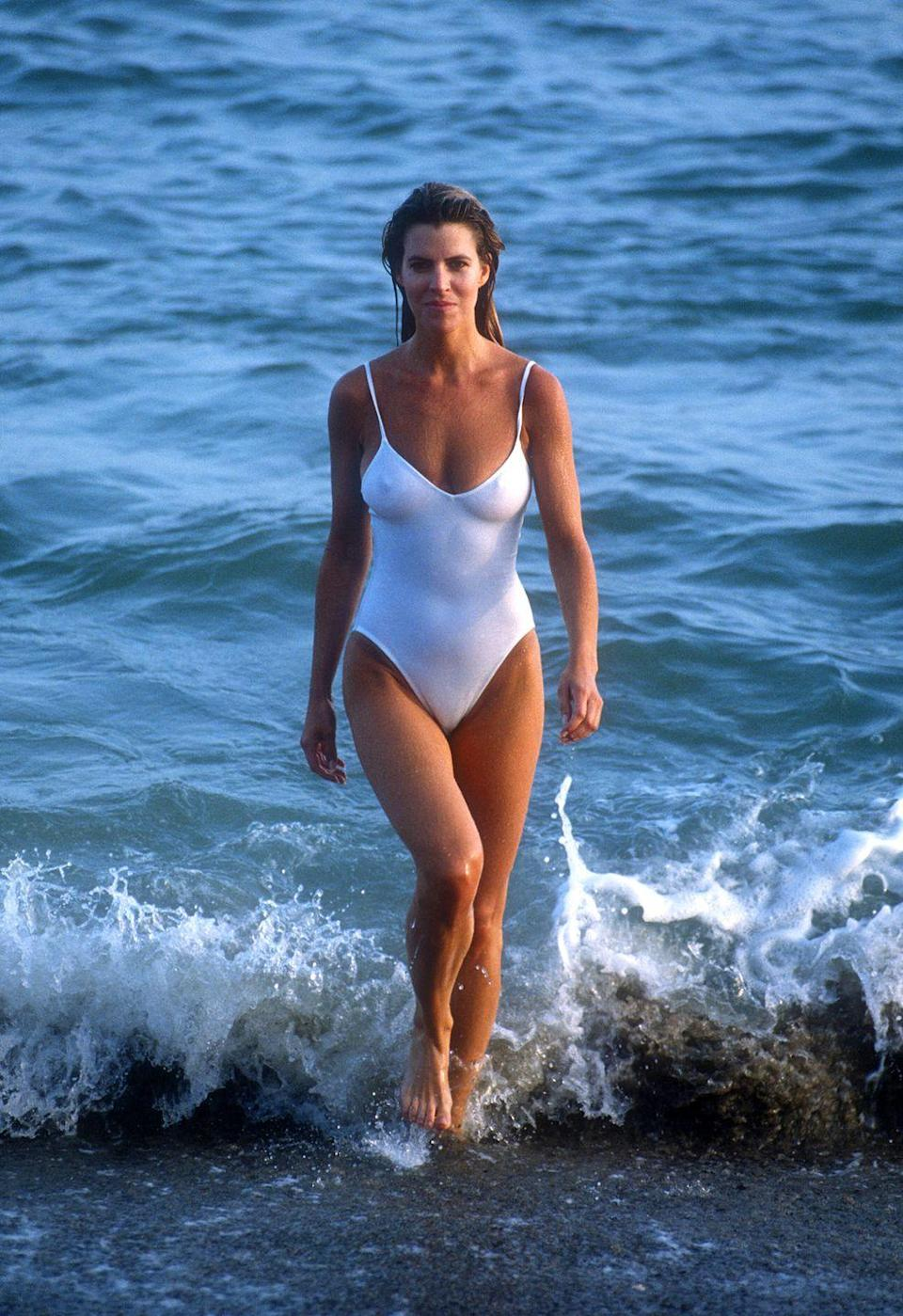 <p>In the early '80s, simple one-pieces were all the rage, particularly in black and white and with spaghetti straps.</p>