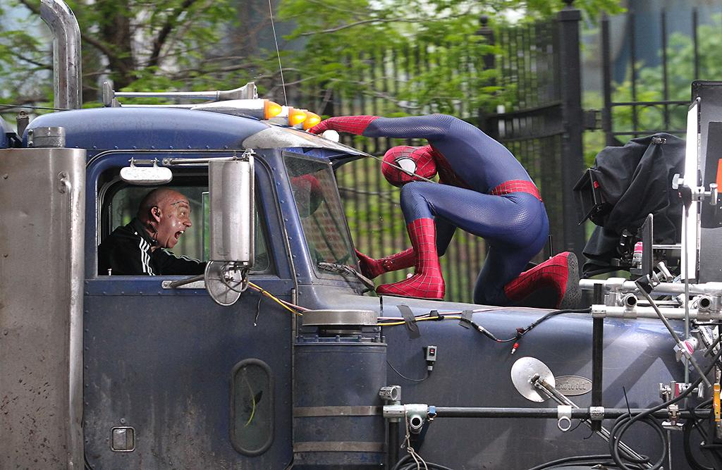 "Andrew Garfield and Paul Giamatti film an action scene for their upcoming film ""The Amazing Spider-Man 2"" in Brooklyn, NYC.