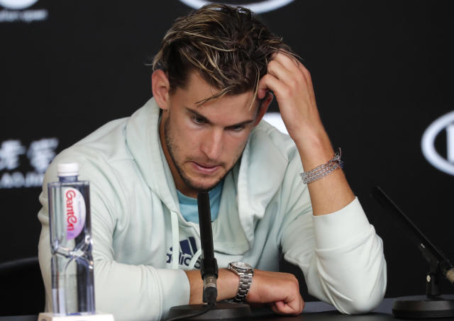 Austria's Dominic Thiem speaks at a press conference following his loss to Serbia's Novak Djokovic in the men's singles final at the Australian Open tennis championship in Melbourne, Australia, early Monday, Feb. 3, 2020. (AP Photo/Lee Jin-man)