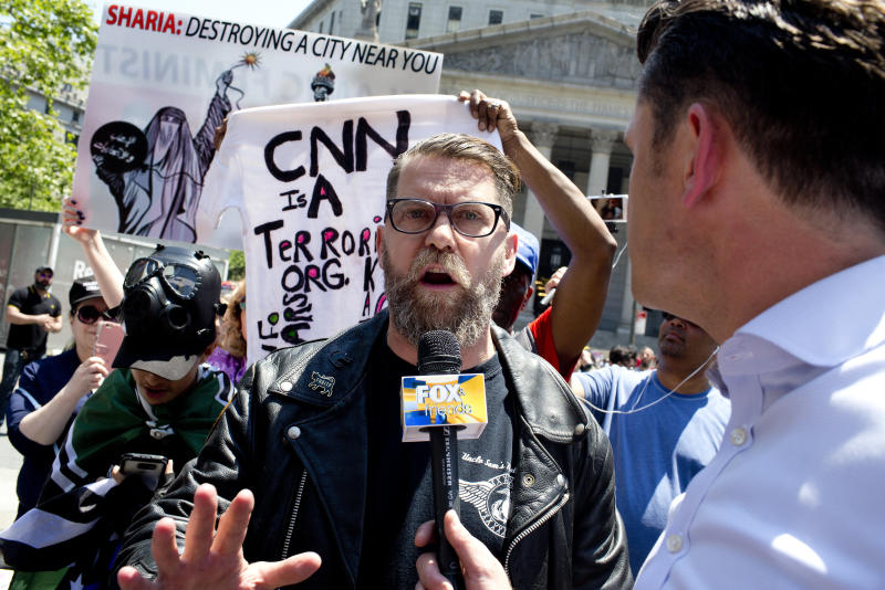 Gavin McInnes is the leader of Proud Boys, a far-right fringe group known for its ties to white supremacy and its penchant for Fred Perry polo shirts. (Andrew Lichtenstein via Getty Images)