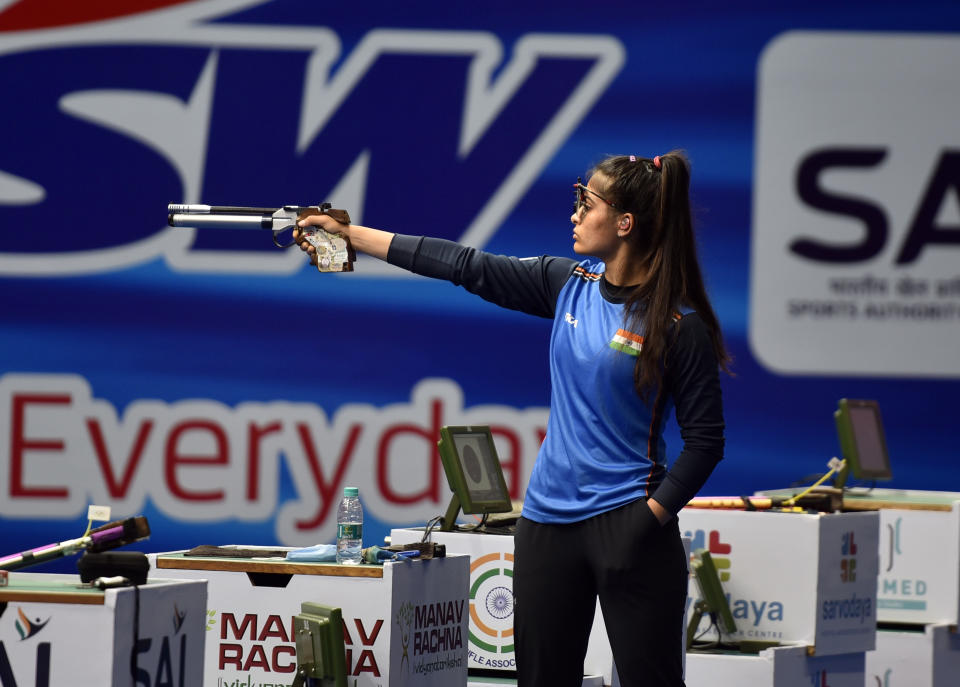 NEW DELHI, INDIA  MARCH 20: Indian shooter Manu Bhaker in action during the 10-meter Air Pistol Womens final of International Shooting Sports Federation (ISSF) World Cup, at Dr Karni Singh Shooting Ranges, on March 20, 2021 in New Delhi, India. (Photo by Sanjeev Verma/Hindustan Times via Getty Images)