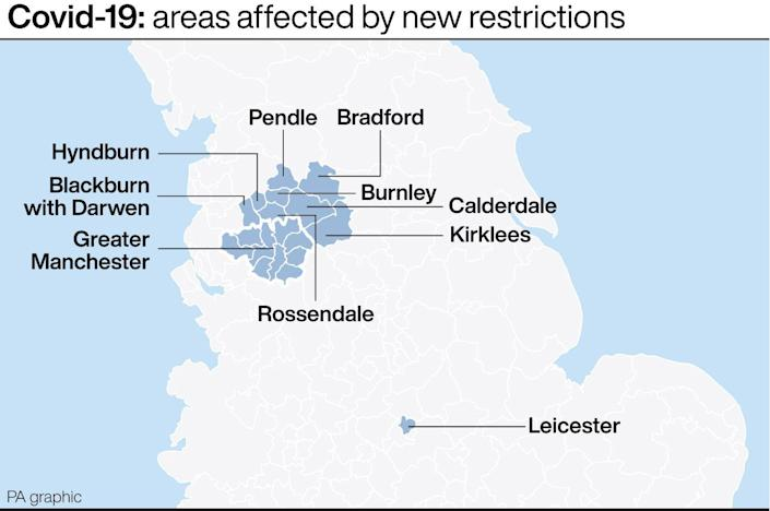 The areas affected by the new restrictions. (PA)