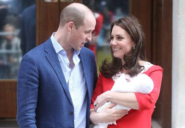 Prince William, Duke of Cambridge, and Catherine, Duchess of Cambridge, with son Louis. (Photo: Getty Images)