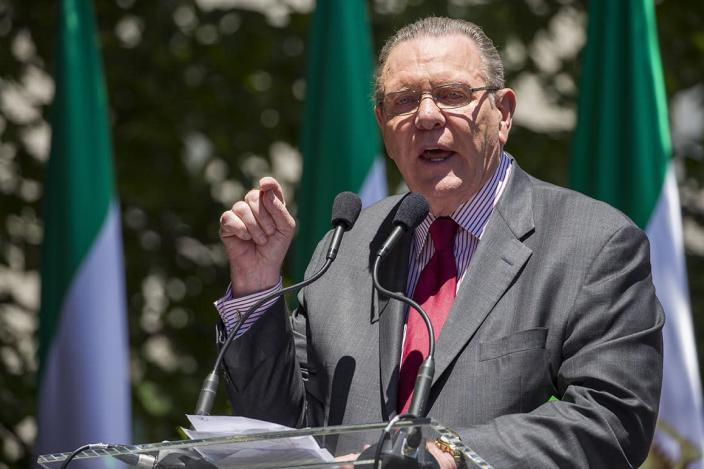 Former Vice Chief of Staff of the U.S. Army Gen. Jack Keane, speaks to activists gathered at the State Department before a march to the White House to call for regime change in Iran, Friday, June 21, 2019, in Washington. (AP Photo/Alex Brandon)