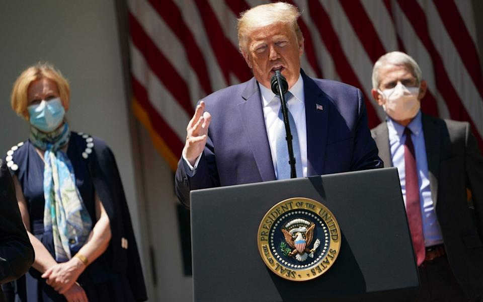 Dr Anthony Fauci, pictured behind President Donald Trump in a May press conference, said the results were 'encouraging' - AFP