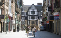 FILE - In this file photo dated April 17, 2020, showing nearly empty streets in Leicester to help curb the spread of the coronavirus. The English city of Leicester is reported Sunday June 28, 2020, to be suffering from a spike in coronavirus cases, leading to speculation that the city could be subject to Britain's first local COVID-19 lockdown later this week. (Joe Giddens/PA via AP)