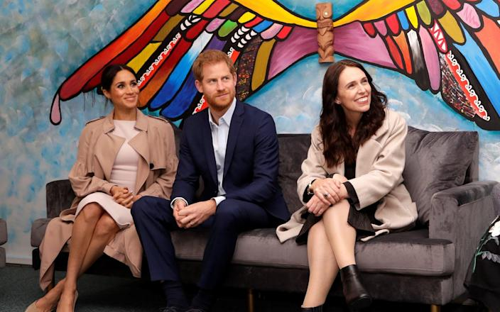 Britain's Prince Harry and Meghan, Duchess of Sussex and New Zealand Prime Minister Jacinda Ardern - Kirsty Wigglesworth/Pool via Reuters