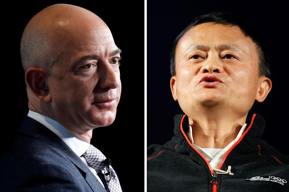 Amazon CEO Jeff Bezos, the richest man in the world, and Alibaba Co-Founder Jack Ma, one of the richest men in China. (Photo: Amir Cohen, Joshua Roberts/REUTERS)