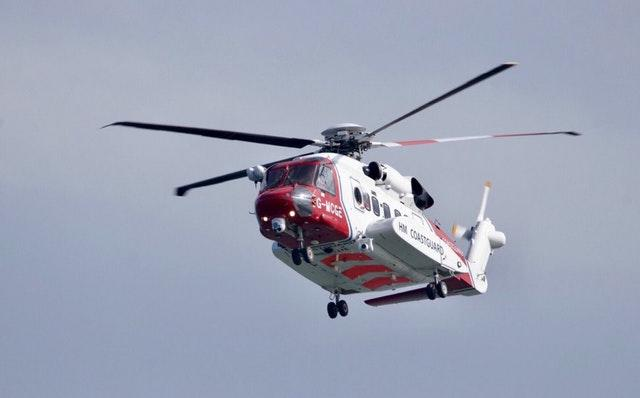 A helicopter involved in the rescue