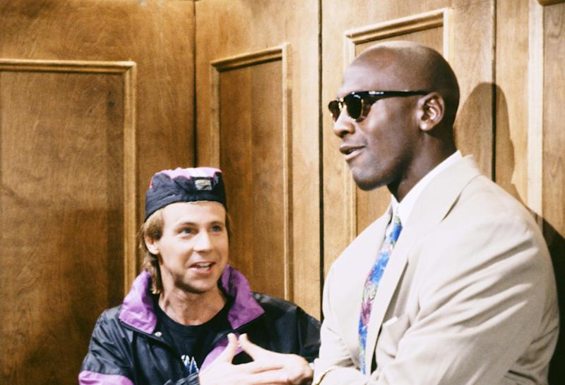 Michael Jordan (pictured with Dana Carvey) was a popular man on the SNL set. (Raymond Bonar/NBCU Photo Bank via Getty Images)