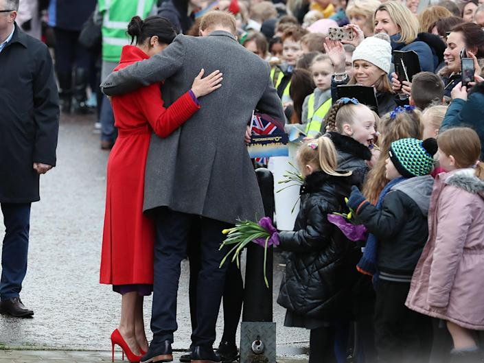Prince Harry and Meghan Markle greet members of the public in January 2019.