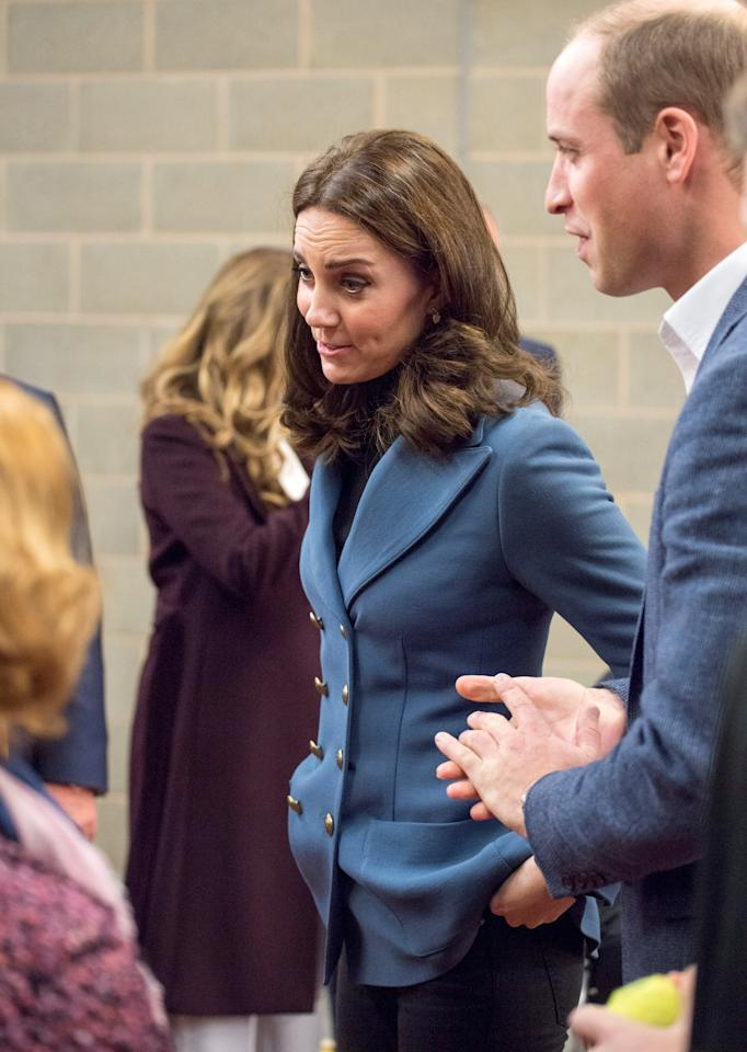 Britain's Prince William and Catherine, the Duchess of Cambridge visit West Ham United's London Stadium for the the graduation ceremony of more than 150 Coach Core apprentices, in London, October 18, 2017. REUTERS/Arthur Edwards/Pool