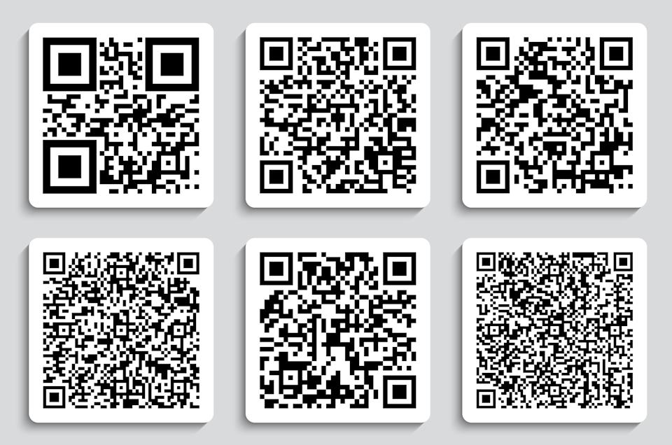 Creative vector illustration of QR codes, packaging labels, bar code on stickers. Identification product scan data in shop. Art design. Abstract concept graphic element.