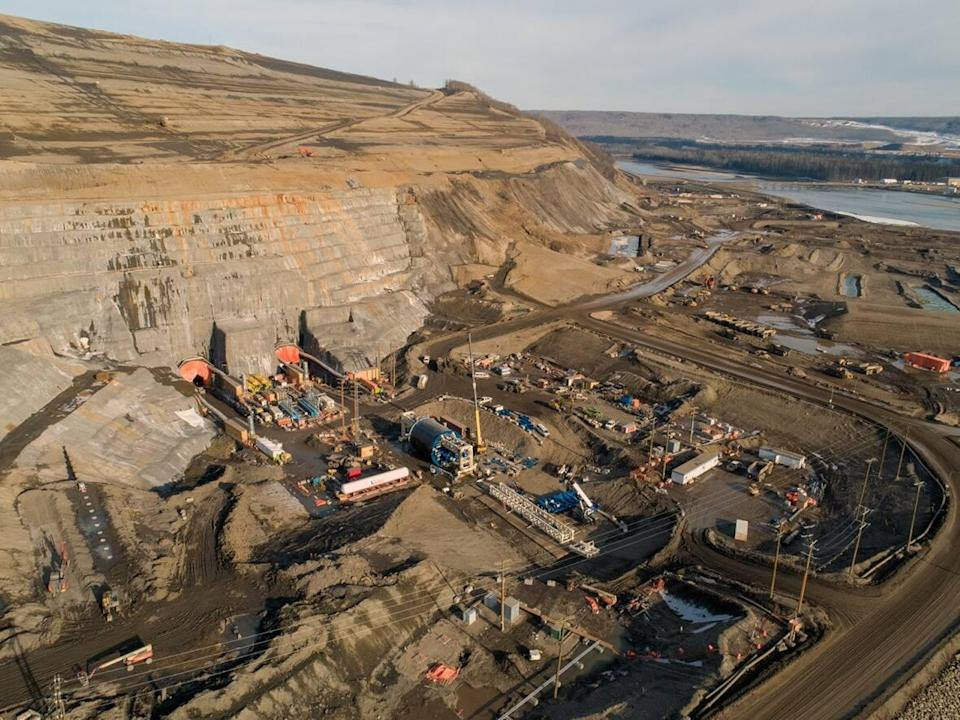 An aerial photo taken in June 2020 shows construction of river diversion tunnels at the Site C hydroelectric dam work site. (BC Hydro/Contributed  - image credit)