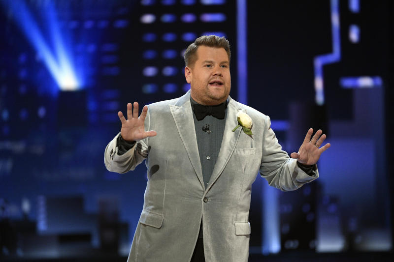 Jun 9, 2019; New York, NY, USA; James Corden speaks during the 73rd Annual Tony Awards ceremony at Radio City Music Hall. Mandatory Credit: Danielle Parhizkaran-USA TODAY/Sipa USA