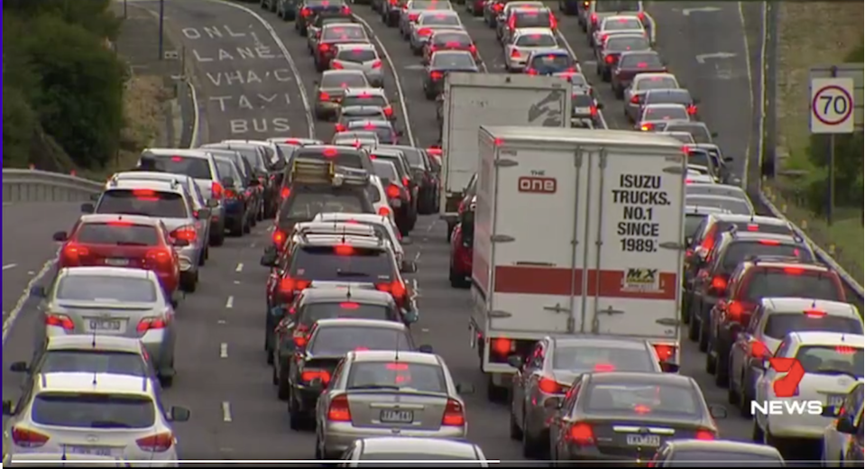 The increase in congestion means also means Melburnians are often driving below the posted speed limit. Image: 7 News