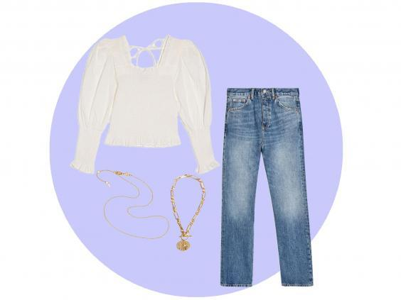 Straight leg jeans (Topshop, £39), shirred top (Topshop, £25), medallion pendant necklace (& Other Stories, £29), chain necklace (Missoma, £55)