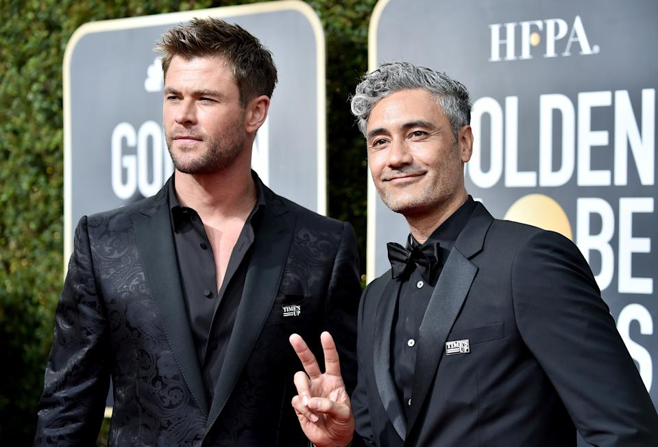 Chris Hemsworth and Taika Waititi attend The 75th Annual Golden Globe Awards on January 7, 2018. (Photo by Frazer Harrison/Getty Images)