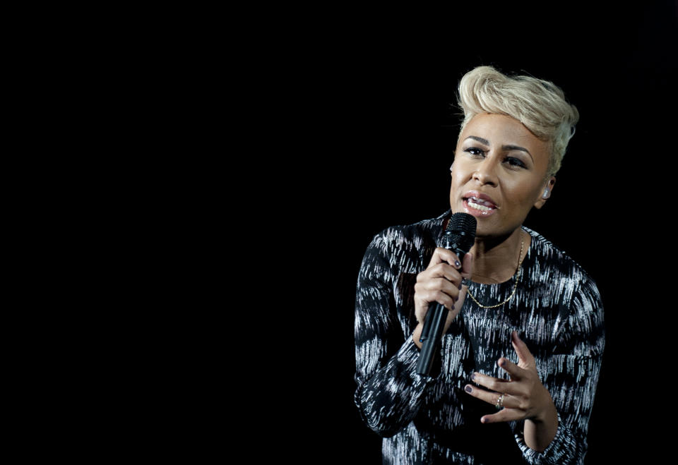 LONDON, UNITED KINGDOM - DECEMBER 19: Emeli Sande performs at Crisis Presents at Hammersmith Apollo on December 19, 2012 in London, England. (Photo by Nick Pickles/WireImage)