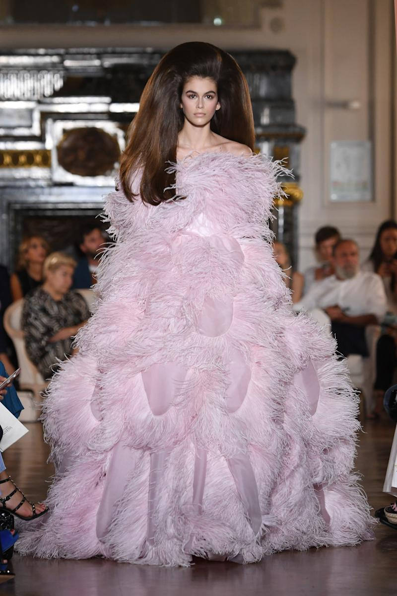 Kaia Gerber walks the runway during the Valentino Haute Couture Fall Winter 2018/2019 show as part of Paris Fashion Week on July 4, 2018 in Paris, France. Photo courtesy of Getty Images.