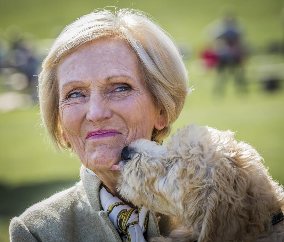Country Fair President Mary Berry is licked by a dog called Henry during the Chatsworth Country Fair in Bakewell, Derbyshire.