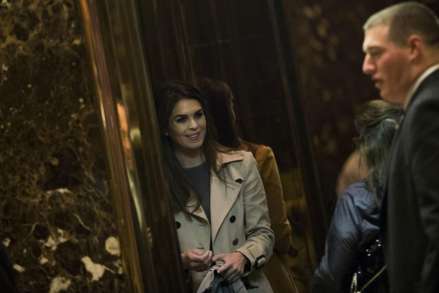 Hope Hicks, press secretary for the Trump campaign, gets into an elevator at Trump Tower, November 15, 2016 in New York City.